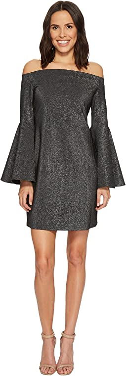 Off Shoulder Bell Sleeve Metallic Ponte Dress