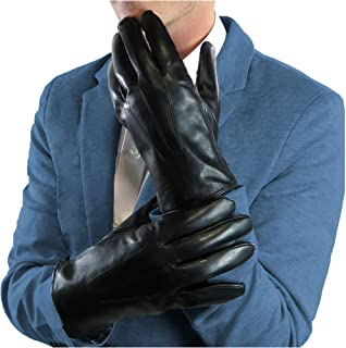 DEBRA WEITZNER Men's Leather Gloves Black Driving Gloves Thinsulate, Fur, Cashmere Lined Leather Touchscreeen Gloves