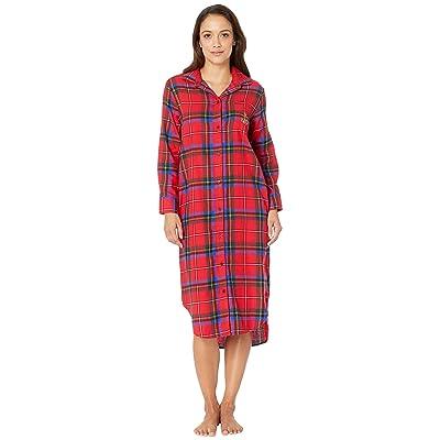 LAUREN Ralph Lauren Petite Long Sleeve Ballet Length Sleepshirt (Red Plaid) Women