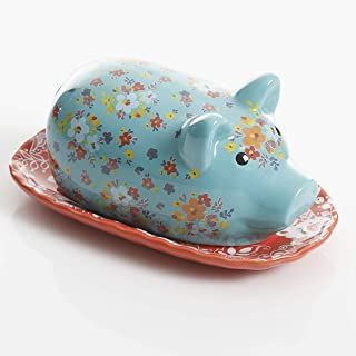 Urban Market by Gibson 99858.02RM Life on the Farm, figural, piggy, butter dish with lid, Blue