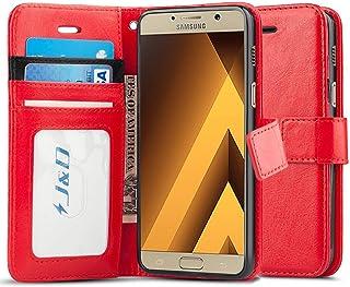 J&D Compatible para Galaxy A3 2017 Funda, [Protección de Cartera] [Soporte Plegable] Funda Pesada Resistentes Billetera para Samsung Galaxy A3 (Release in 2017) - Rojo