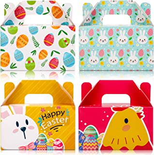 12 Pcs Happy Easter Kraft Paper Treat Bags Colored Easter Bunny Chick Egg Patterned Cookie Candy Chocolate Goody Box with Sealing Stickers for Kids School Classroom Easter Party Favor Supplies