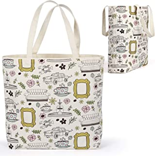 Brital Friends Grocery Tote Bag Yellow Frame Peephole Friends TV Show Merchandise Kitchen Grocery Reusable Bag Shopping Co...
