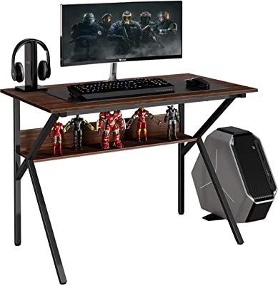 """FITUEYES 42"""" Gaming Desk Computer Table with Storage Shelf K Shaped Sturdy Writing Table for Home and Office KCD110601WE"""