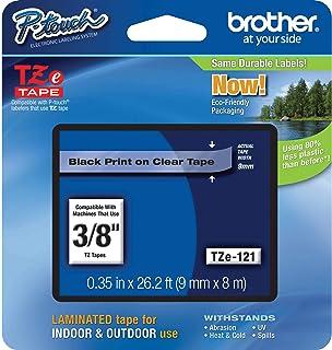 Brother TZE-121, TAPE CASS.(TZE-121 BLCK/CLER) 9mm