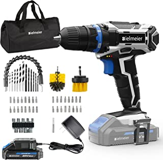 Bielmeier Cordless Drill Set, 20V MAX Lithium-Ion Power Drill Cordless, Electric Drill with Variable Speed, LED and 58pcs ...