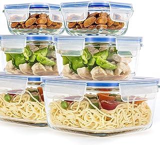 [عبوة من 6 قطع] وعاء زجاجي لتخزين الطعام مع أغطية محكمة الغلق ، خالية من البيسفينول A، أوعية دائرية لوضع الوجبات