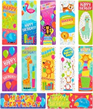 Sustainable Greetings 72-Pack Bulk Birthday Book Markers for Kids, Students, and Classroom - 12 Cute Bookmark Designs, One-Sided Heavyweight Cardstock, 7.2 x 2.4 Inches