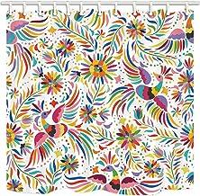 Cortina de baño floral mexicana, diseño étnico de pájaros y flores de cachemira, color blanco, tela de poliéster impermeab...
