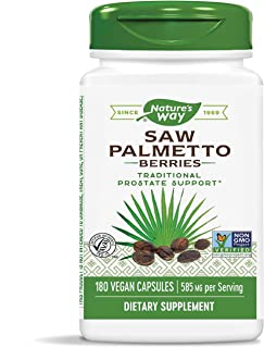 Nature`s Way Saw Palmetto Berries; 585 mg; Non-GMO Project Verified; TRU-ID Certified; 180 Capsules