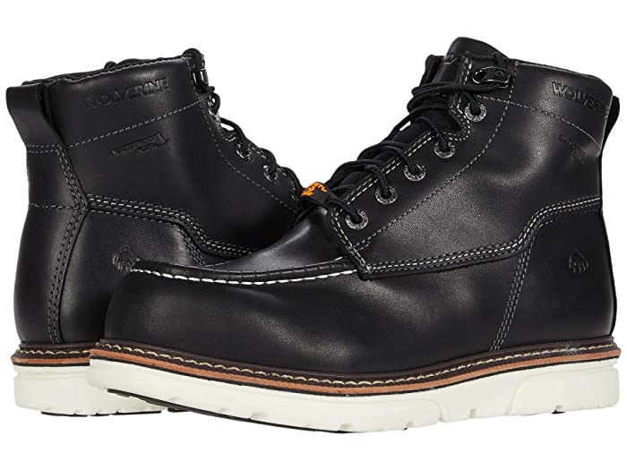 Wolverine  I-90 DuraShocks Moc-Toe CarbonMAX 6 Work Boot (Black/White) Mens Work Lace-up Boots