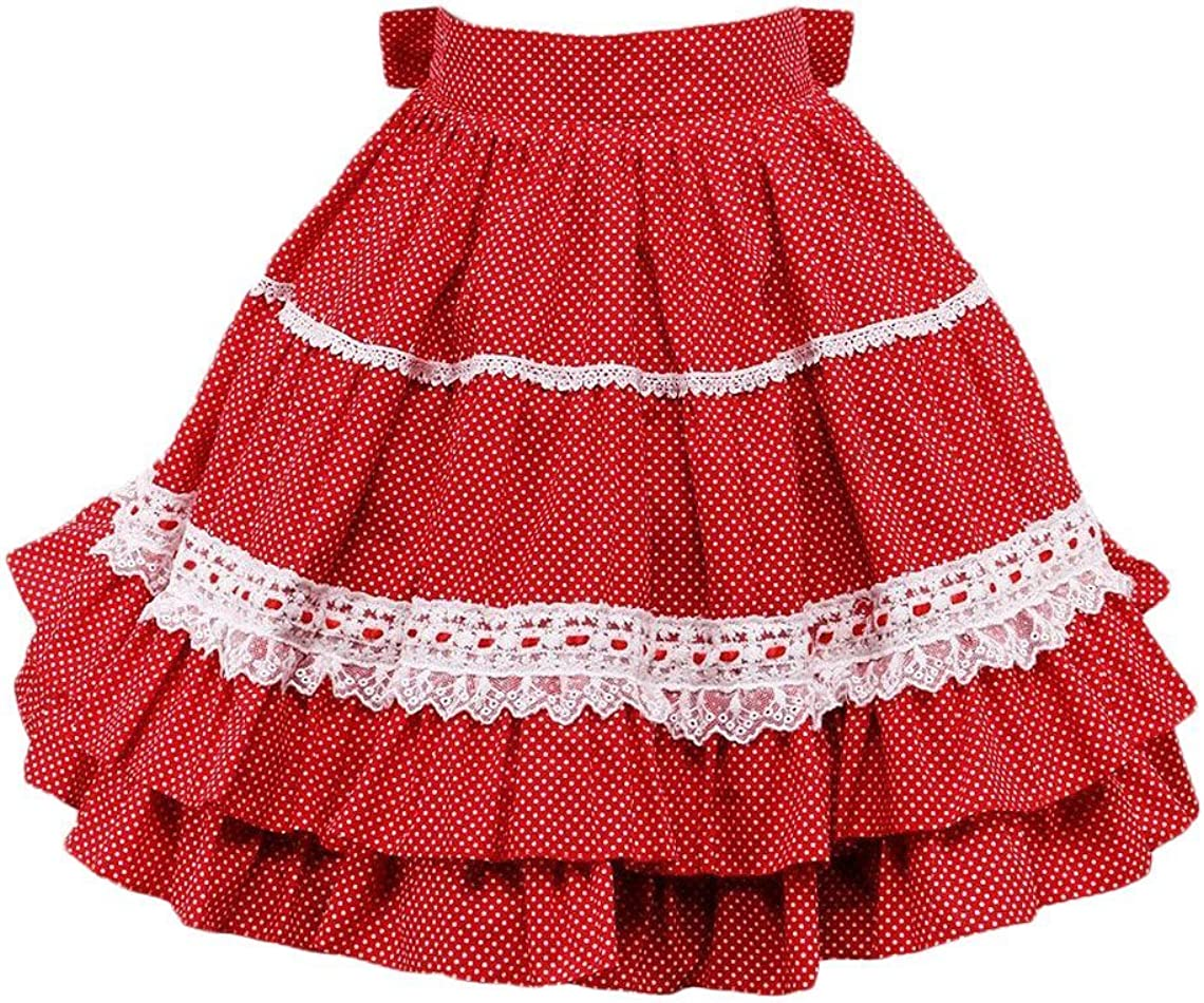 Antaina Red & Small White Particles Layered Ruffled Lace Lolita Short Skirts