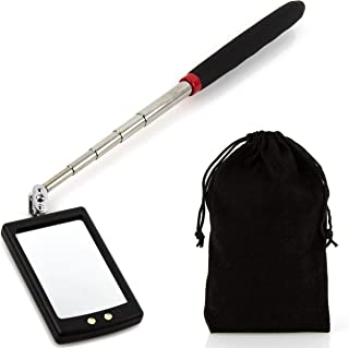 Telescoping Mirror and Light Automotive Inspection Tool, 2 LEDs, 360 Degree Swivel, Extendable, Batteries Plus Carrying Case Included