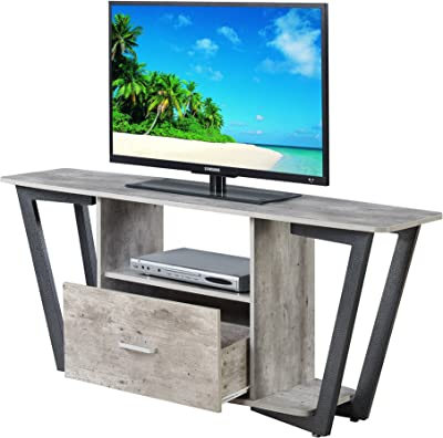 "Convenience Concepts Graystone 60"" TV Stand, Faux Birch / Slate Gray Frame"