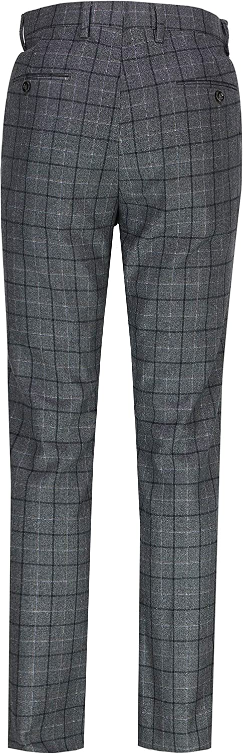 Xposed Mens Classic Blue Grey Tweed Windowpane Check Trousers Retro Vintage Tailor Fit Suit Pant