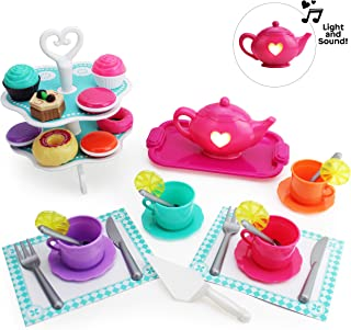 Boley Tea Set - 40 Piece Children's Tea Party Set with Princess Pink Teapot and Plastic Tray, Vintage Teacups with Saucers and Lemon Slices, Fancy Cake Stand with Cutlery and Play Food Mini Desserts