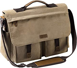 Messenger Bag for Men, VASCHY Vintage Water Resistant Waxed Canvas Satchel 15.6 inch Laptop Briefcase Shoulder Bag with Pa...