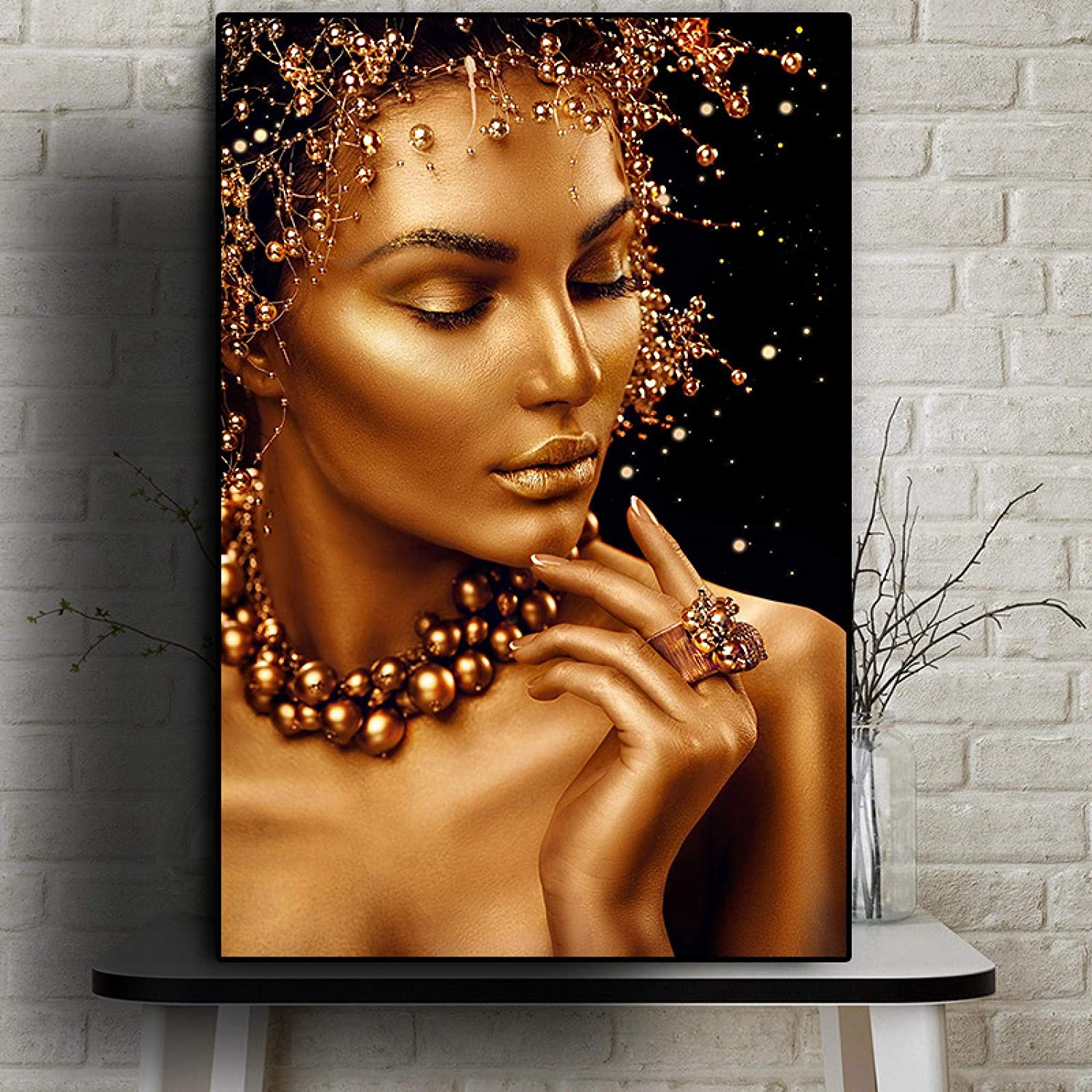 Sexy African Art Black and Gold Posters Wall Woman Ar Prints Brand Cheap Department store Sale Venue