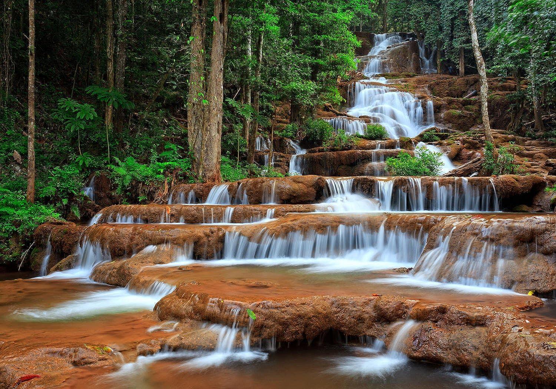 Wandmotiv24 Fototapete Wasserfall im Wald.Thailand M0894 M0894 M0894 L 300 x 210 cm - 6 Teile Wandbild - Motivtapete B076CH42N6 22cd2a