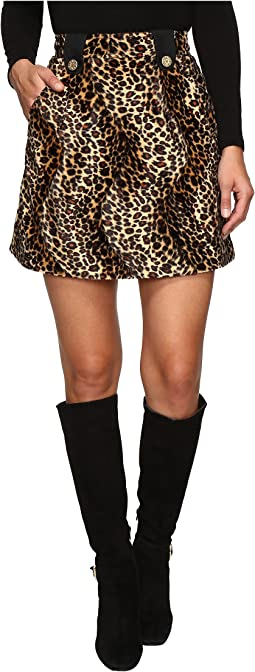 Velvet Leopard Mini Skirt