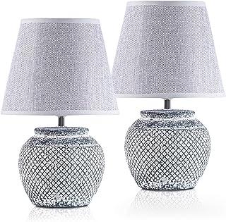 BRUBAKER - Lampe de table/de chevet - Lot de 2 - Design classique - Hauteur 30,5 cm - Pied en Céramique - Abat-jour en Li...