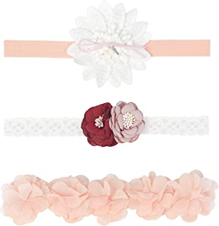 Baby Girls Bow Headband Chiffon Floral Nylon Turban Head Bands Elastic Bowknot Wedding Hair Accessories for Kids, Toddlers