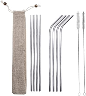 8 Pcs Stainless Steel Straws, Reusable Stainless Steel Drinking Straws Extra Long 10.5'' (4 Straight + 4 Bent + 2 Cleaning Brushes) …
