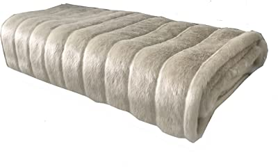 Plutus Brands Fancy Faux Mink Throw Pillow, 90 x 90, Ivory/Off White