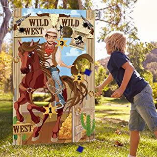 Western Party Cowboy Toss Games with 3 Bean Bags, Fun Western Game for Kids and Adults in Western Themed Activities Western Cowboy Decorations and Supplies