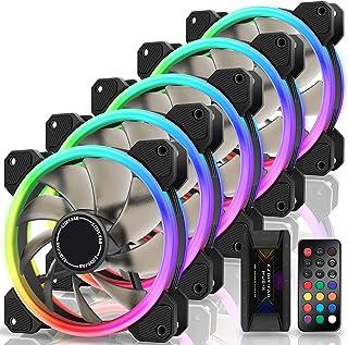EZDIY-FAB Ventilateurs à Double Anneau RGB 120mm,5V Sync Carte Mère,Vitesse Réglable,Ventilateur RGB Sync avec Moyeu de Ve...