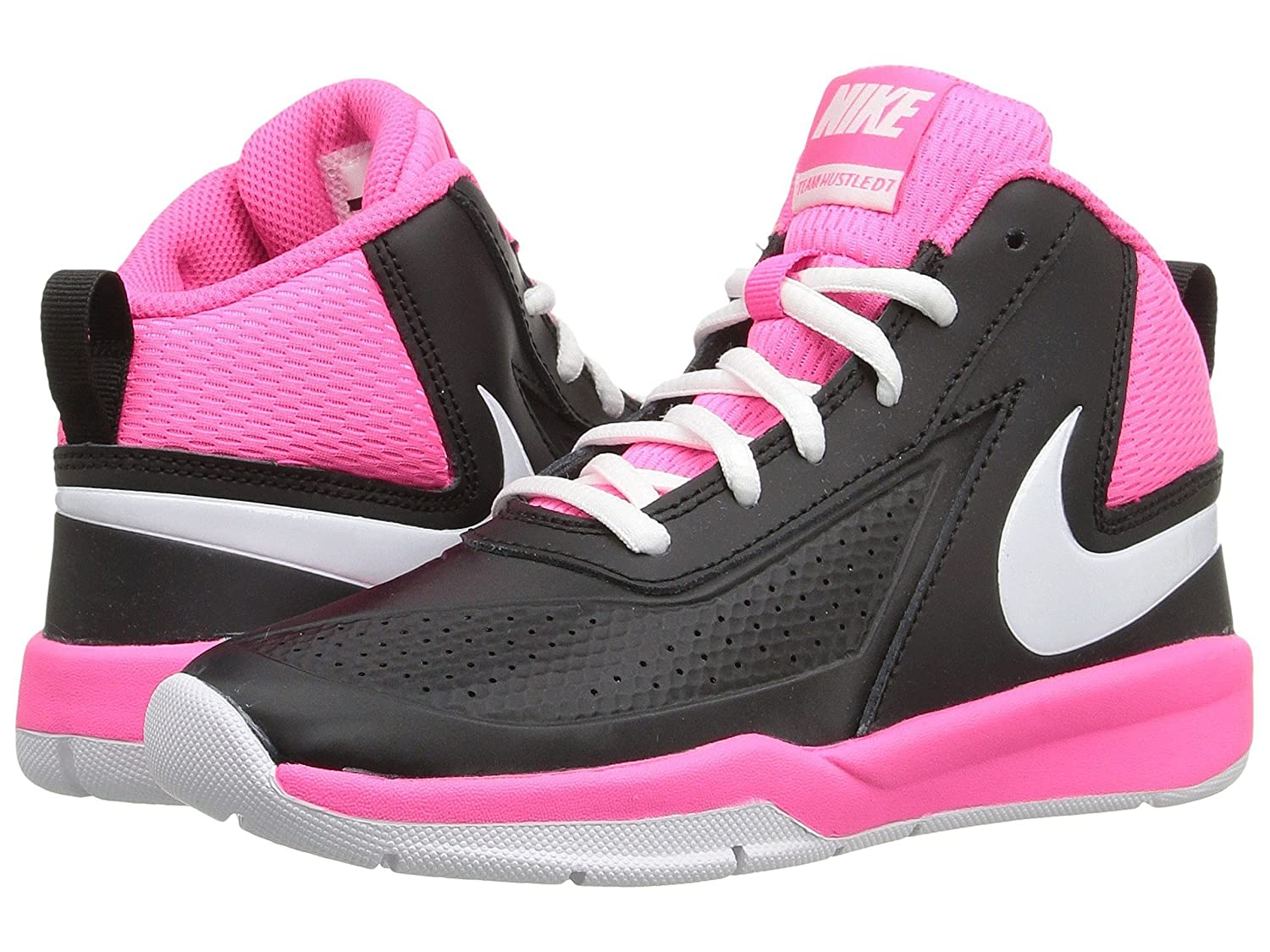 (ナイキ) NIKE キッズバスケットボールシューズ?靴 Team Hustle D 7 (Little Kid) Black/Hyper Pink/White 12 Little Kid (18.5cm) M