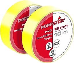 Poppstar 2x 10m Universele Isolatietape, Pvc Afdichtingstape (Dichtingstape voor Isolatie – Reparatie van Elektrische Leid...
