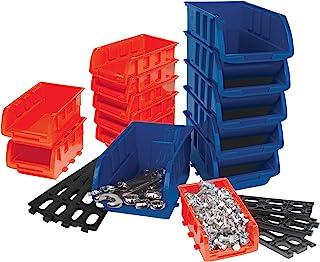 Performance Tool W5195 Storage Bin Set, 15-Piece, Red/Blue