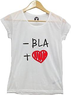 0453b2bbb7a262 Meno BLA Piu' Cuori - Tshirt Donna - Scritte Divertenti - Maglietta con  Scritta -