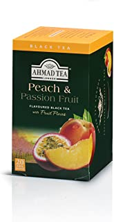 Ahmad Tea Peach & Passion Fruit Black Tea, 20-Count Boxes (Pack of 6)