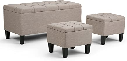 featured product Simpli Home AXCOT-238-NL Dover 44 inch Contemporary Storage Ottoman in Natural Linen Look Fabric