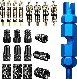 SINGARE Tire Repair Kits:1pcs Valve Core Tool+4pcs Presta Valve core, 4pcs Schrader Valve core+4pcs Bike Valve Adapter,4Pcs Fresta Valve Cap+4Pcs Schrader Valve Cap (Car Adapt)