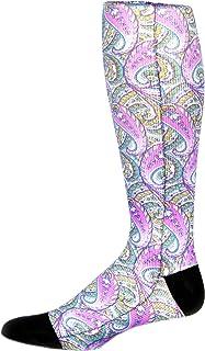 Prince Daniel Men's Therapeutic Compression Socks, Purple Paisley, 8-15 Mmhg, Mild