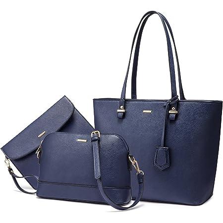 LOVEVOOK Handtasche Damen Schultertasche Handtaschen Tragetasche Damen Groß Designer Elegant Umhängetasche Henkeltasche Set 3-teiliges Set Blau