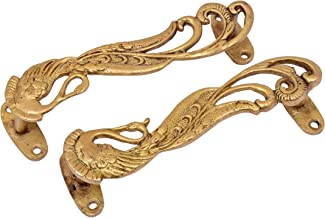 STATUESOLUTION Peacock Design 7 Inches Brass Door Handle Pair (Golden Antique Finish)