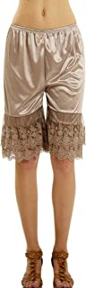 Melody Shop Lev Women's Double Lace Snip-in Satin Pettipants, Pant Slip, Bloomer