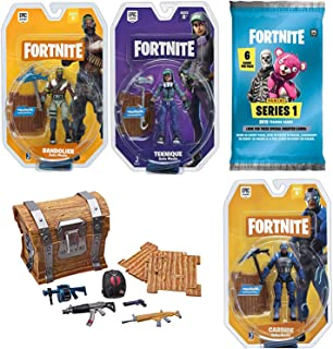 Fortnite Triple Action Gamer Figure Carbide / Bandolier / Teknique Bundled with Treasure Loot Chest Blind Box + Pack Trading Cards & Battle Royale Guide Book 5 Items
