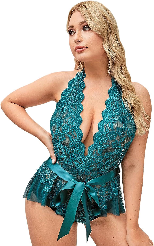 Romwe Women's Plus Size Lace One Piece Lingerie Mesh Halter Deep V Teddy Lingerie Bodysuit