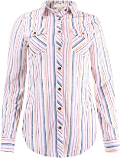Ladies' Code Women's Stripe Button Down Shirt Roll Up Sleeves Soft and Stretchy Knit
