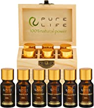 Pure Life Top 6 Essential Oils Set for Diffuser Aromatherapy 100% Organic Fragrance Oil Kit for Humidifier, Fresh & Grade ...
