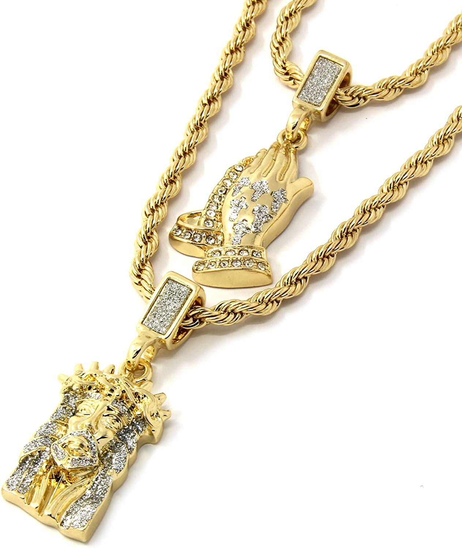 Jewel Town Mens Gold Two Piece Jesus & Prayer Hand Bundle Set Pendant Hip Hop 24