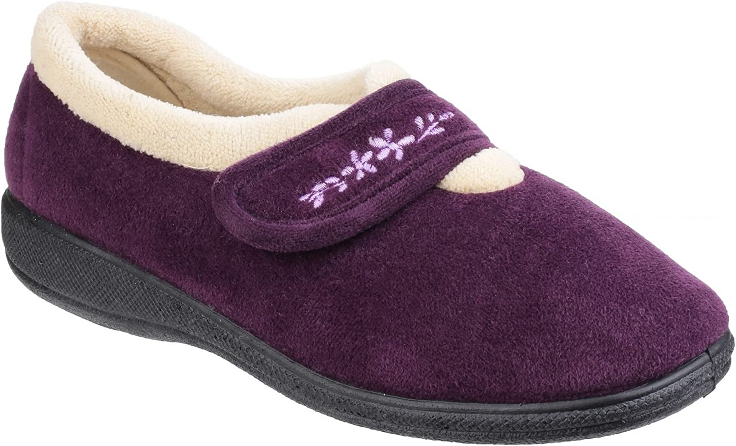 Fleet & Foster Womens Capa Touch Fastening Memory Foam Slipper Plum Size UK 6 EU 39