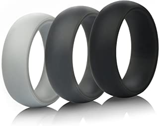 ThunderFit Mens Silicone Wedding Rings Wedding Bands - 5 Pack / 4 Pack / 3 Pack - 8.7mm Wide (2mm Thick)