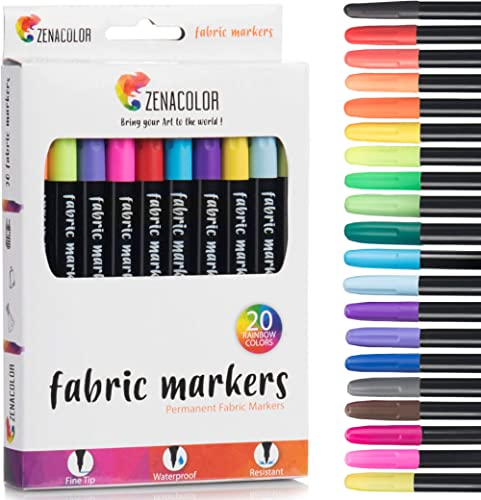 20 Fabric Markers Pens Set - Non Toxic, Indelible and Permanent Fabric Paint Fine Point Textile Marker Pen - Pens Fin...