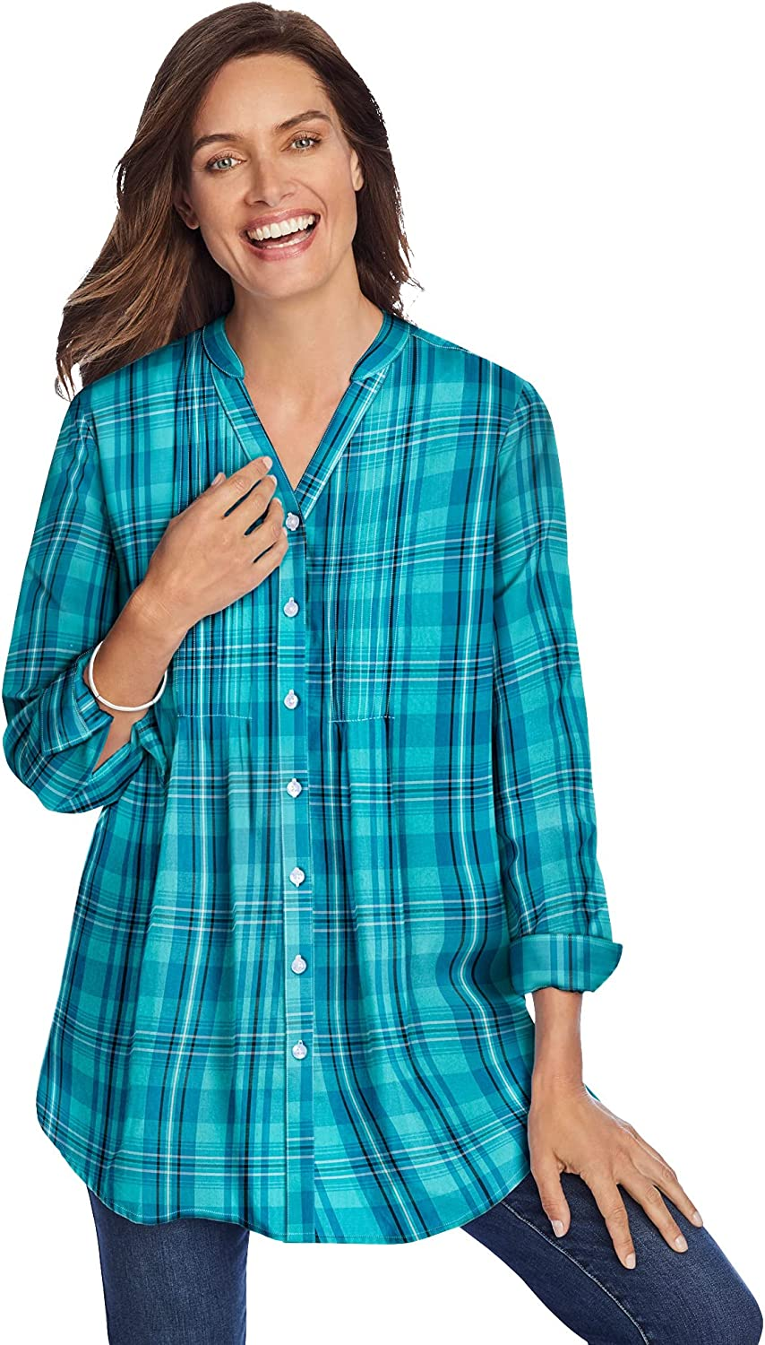 Woman Within Women's Plus Size Perfect Pintuck Tunic